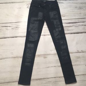 Tripp black jeans leather patchwork skinny denim 1
